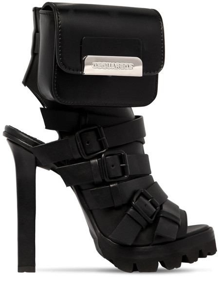 DSQUARED2 120mm Buckled Leather Sandals W/purse in black