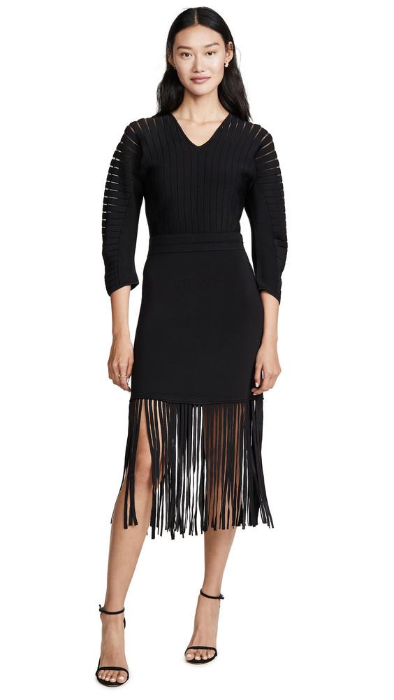 Yigal Azrouel Fringe Hem Dress in black