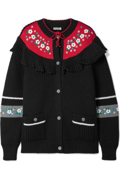 Miu Miu - Ruffled Embroidered Wool Cardigan - Black