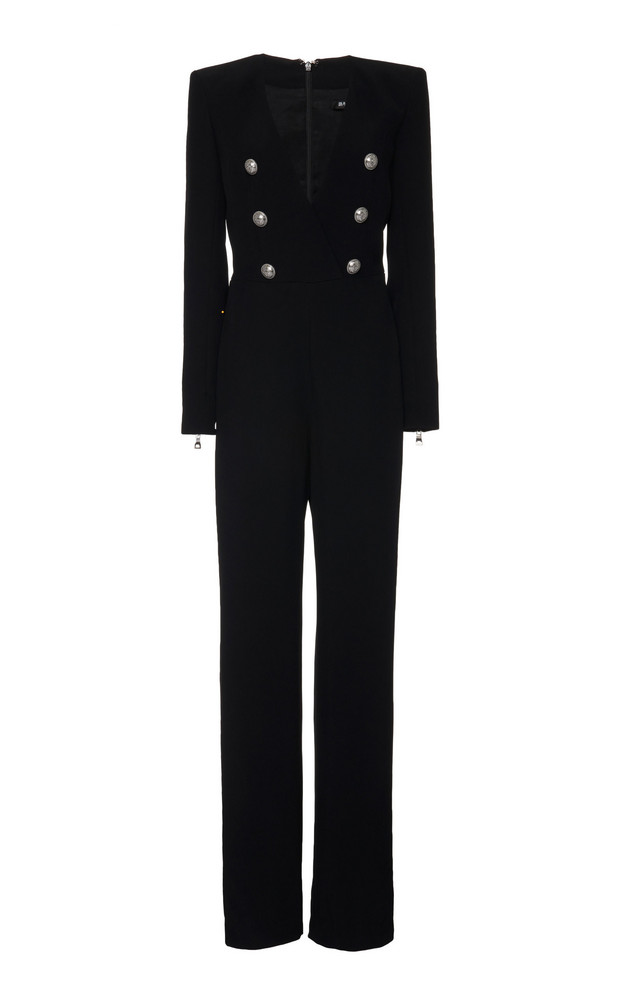 Balmain V-Neck Flared Crepe Jumpsuit Size: 34 in black