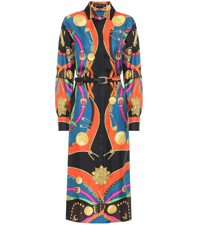 Versace Printed silk midi shirt dress