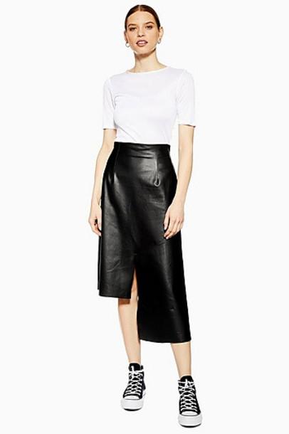 Topshop *Leather Step Hem Skirt By Boutique - Black