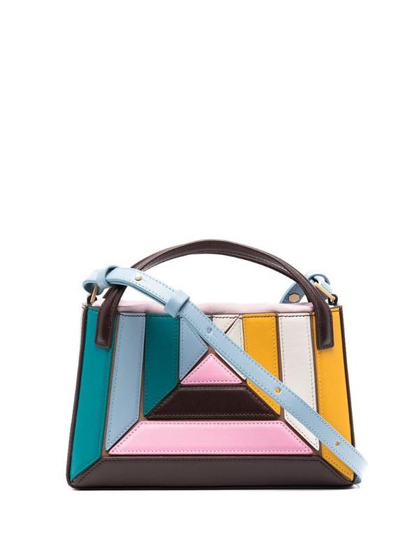 Mlouye geometric panelled tote bag in pink