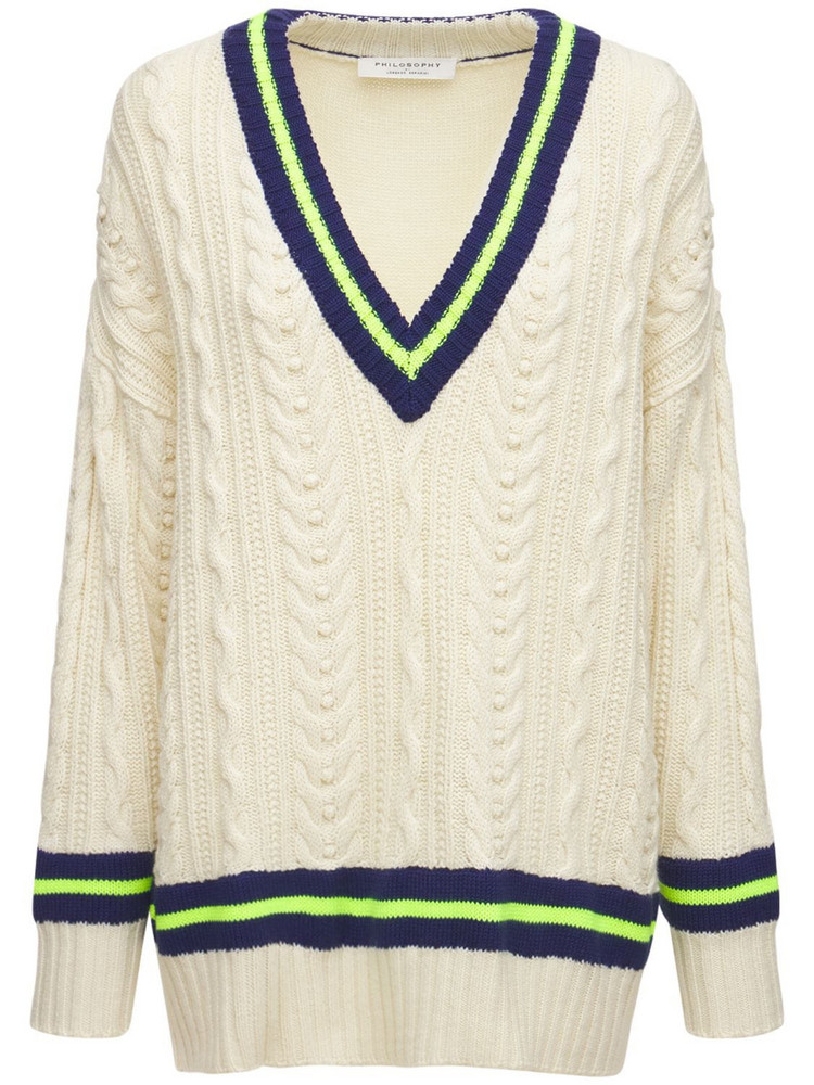 PHILOSOPHY DI LORENZO SERAFINI Virgin Wool & Acrylic V Neck Sweater in white