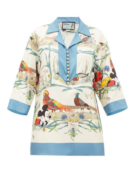 Gucci - Mickey Mouse And Animal-print Silk Blouse - Womens - Blue Multi