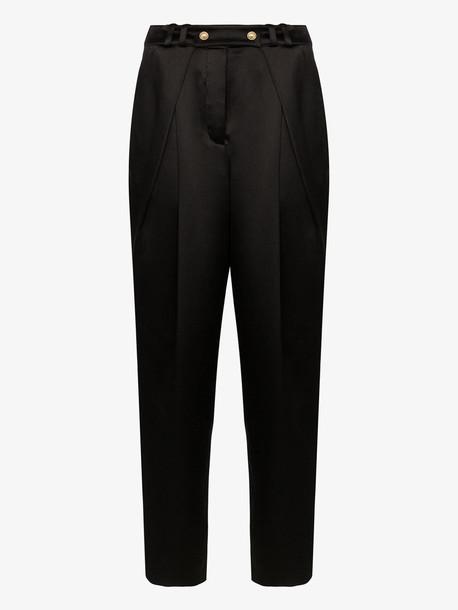 Balmain tapered silk trousers in black