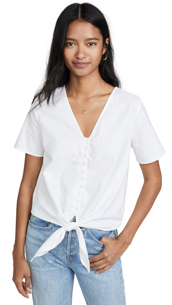 Madewell Tie Front Button Down Top in ivory