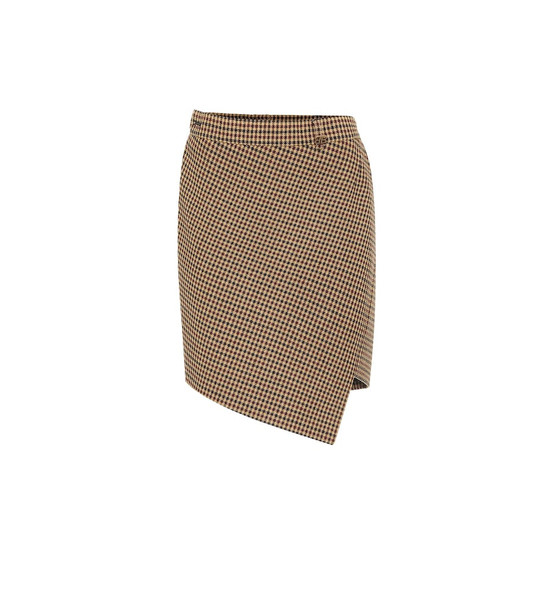 Balenciaga Houndstooth wool-blend miniskirt in brown