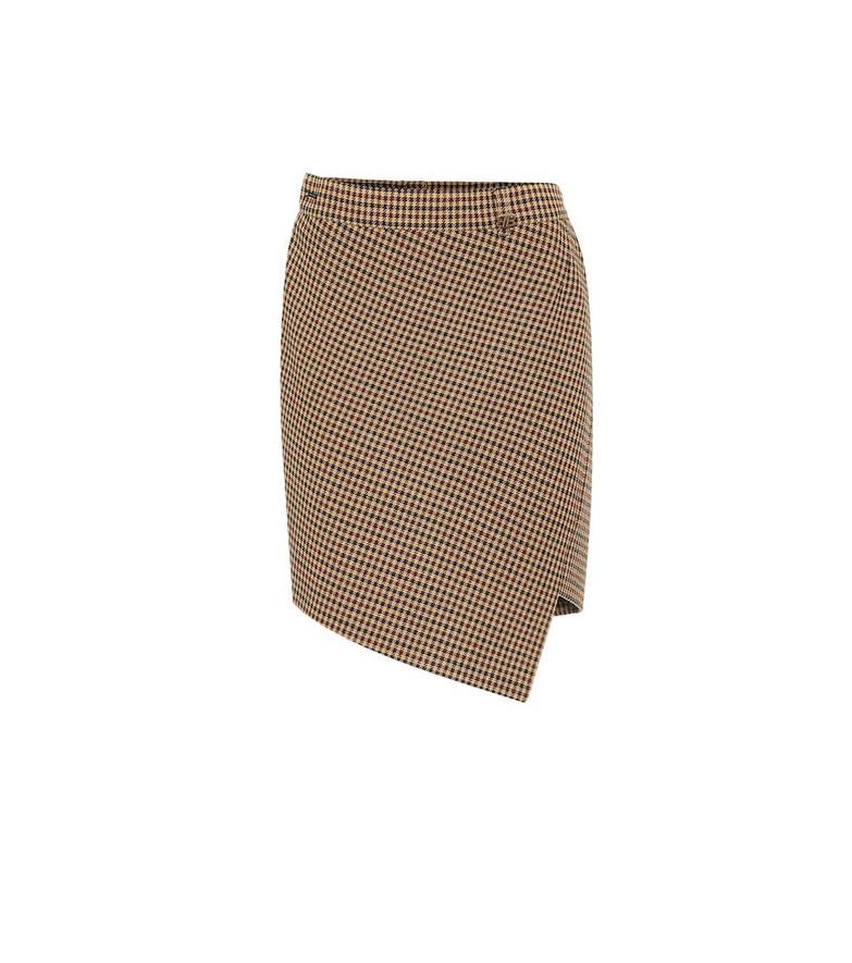 Balenciaga Houndstooth wool-blend miniskirt in brown