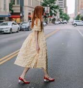 dress,midi dress,yellow dress,shoes,red shoes