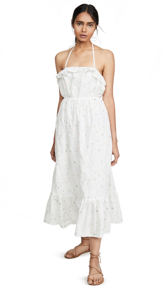 ENGLISH FACTORY Floral Maxi Dress in white