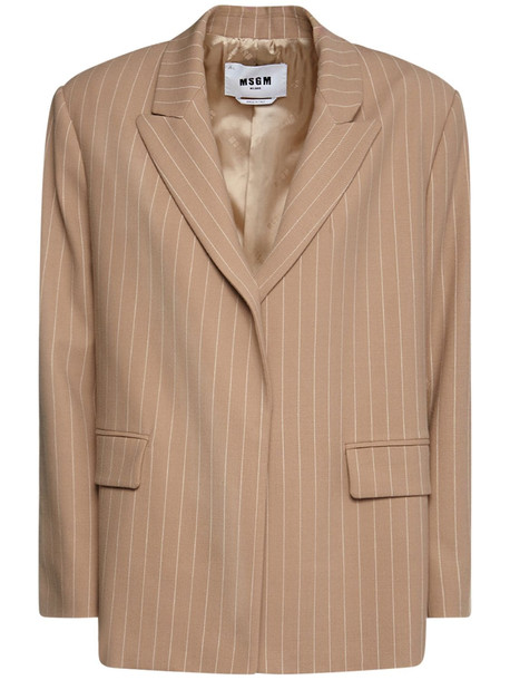 MSGM Pinstriped Wool Blend Oversize Blazer in camel