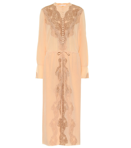 Chloé Lace-trimmed silk maxi dress in pink