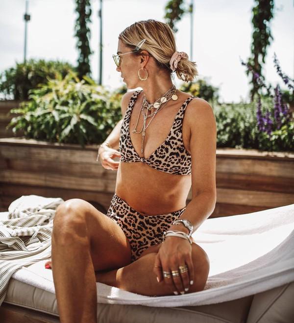 swimwear swimwear two piece leopard print swimwear printed jewels