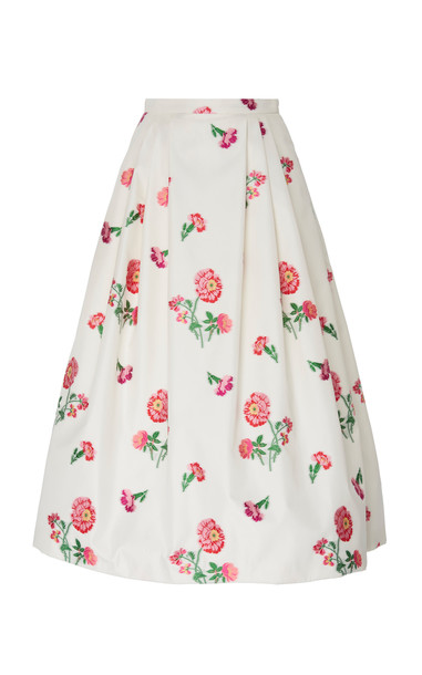 Andrew Gn High-Rise Floral-Print Satin Skirt Size: 34 in white