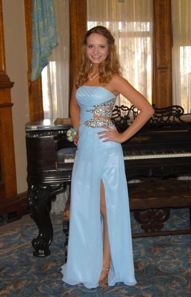 dress long dress strapless dress blue dress