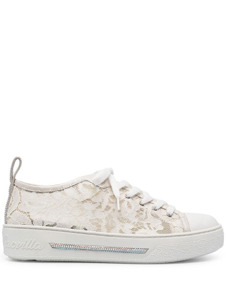 René Caovilla floral lace panel sneakers in neutrals