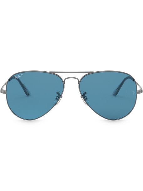 Ray-Ban aviator shaped sunglasses in metallic