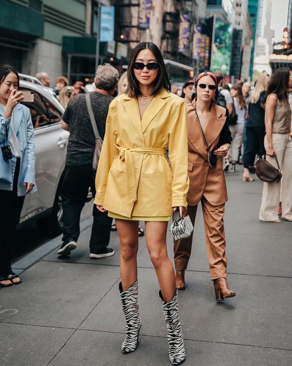 jacket yellow jacket leather song of style knee high boots zebra print mini skirt handbag