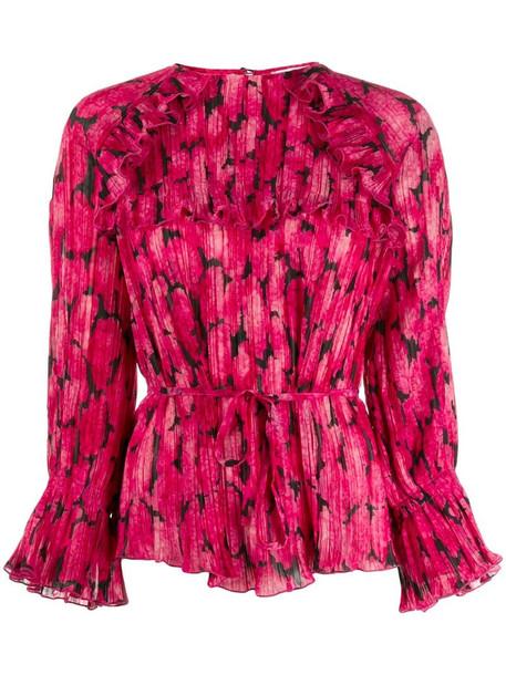Kenzo printed ruffle blouse in pink