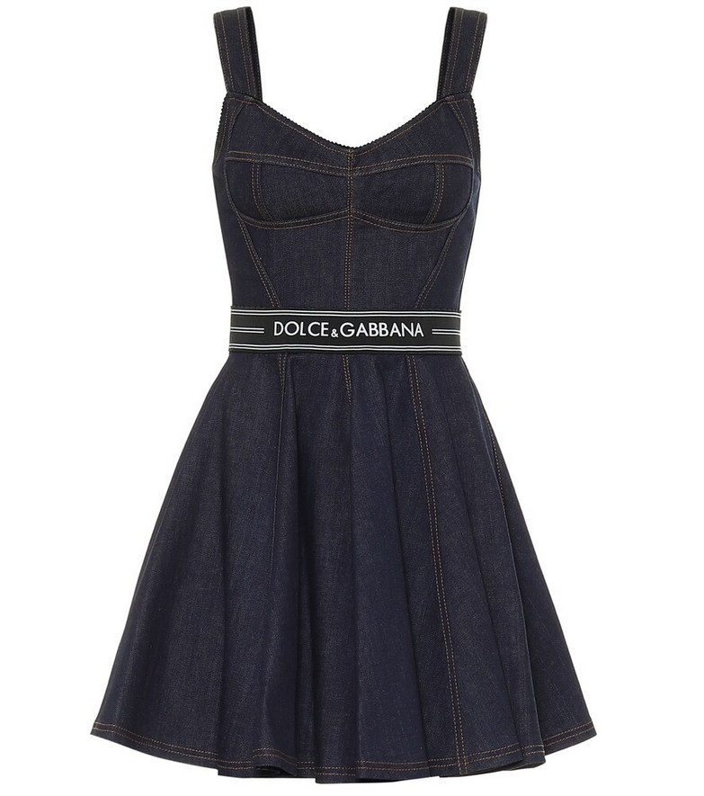 Dolce & Gabbana Stretch-denim mini dress in blue