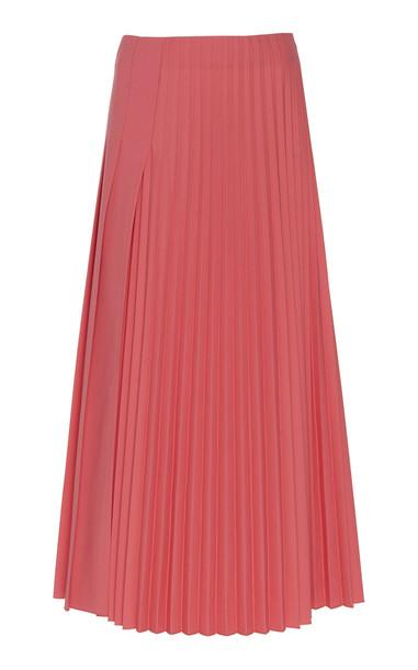 Joseph Sallis Pleated Wool Blend Skirt in pink