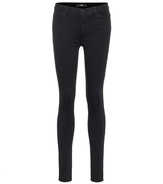 7 For All Mankind Slim Illusion high-rise skinny jeans in black