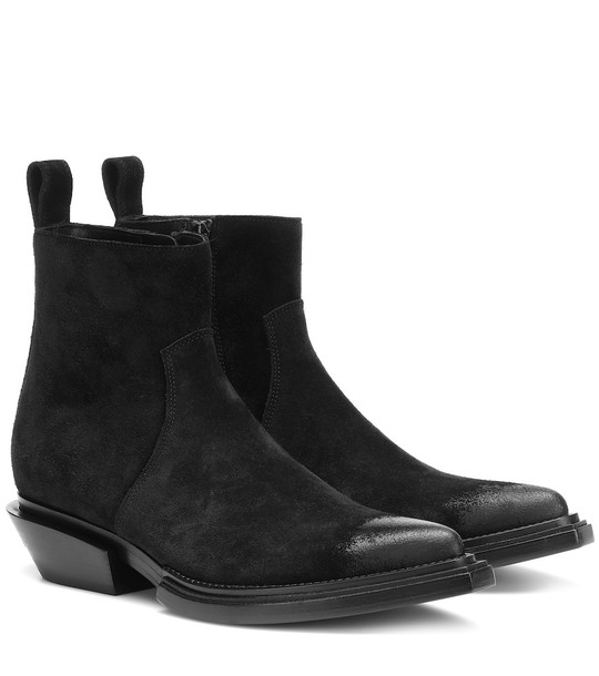 Balenciaga Santiag suede ankle boots in black