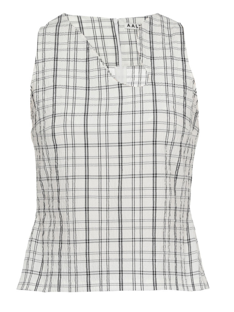AALTO Check Patterned Top in white