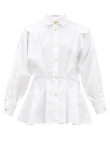 Palmer/harding Palmer//harding - Sunda Cinched-waist Cotton-poplin Shirt - Womens - White