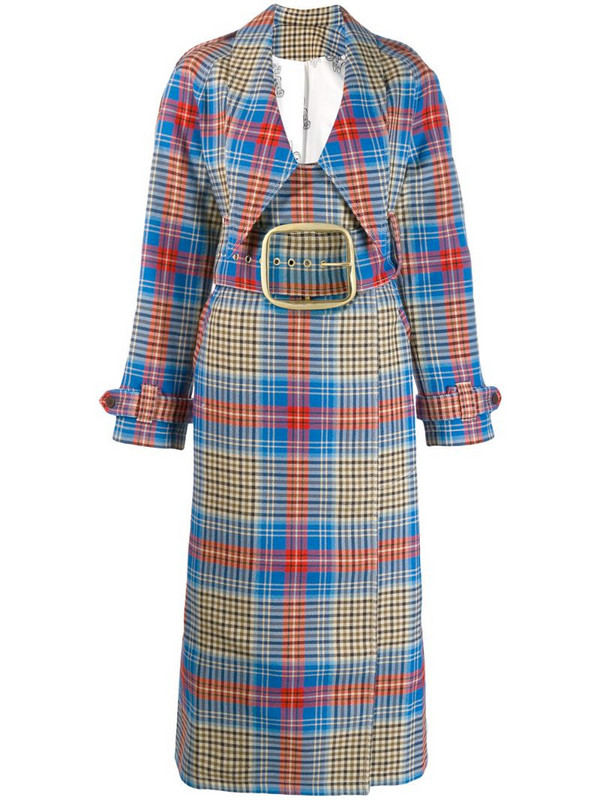 Charles Jeffrey Loverboy tartan Shepherd trench coat in blue