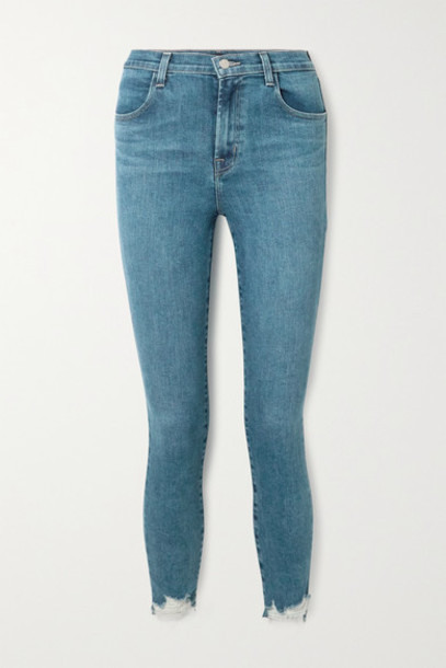 J Brand - Alana Cropped Frayed High-rise Skinny Jeans - Mid denim