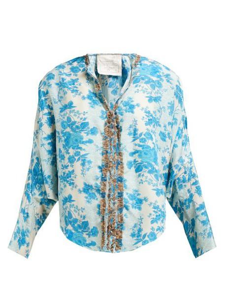 By Walid - Iris Floral Print Silk Jacket - Womens - Blue Multi