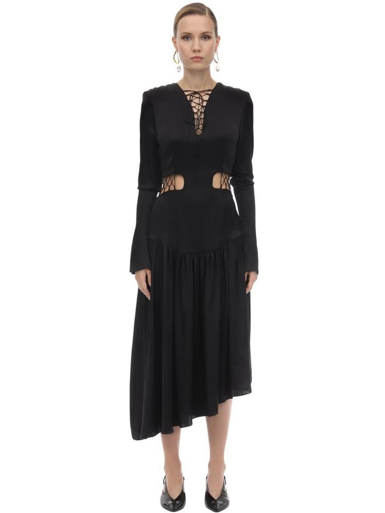 MATÉRIEL Lace-up Silk Satin Midi Dress in black