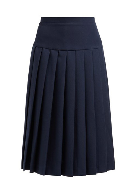 Alessandra Rich - High Rise Pleated Wool Crepe Skirt - Womens - Navy