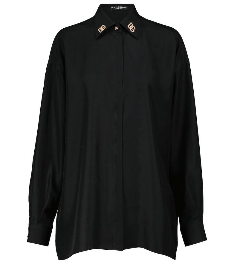 Dolce & Gabbana Oversized silk shirt in black