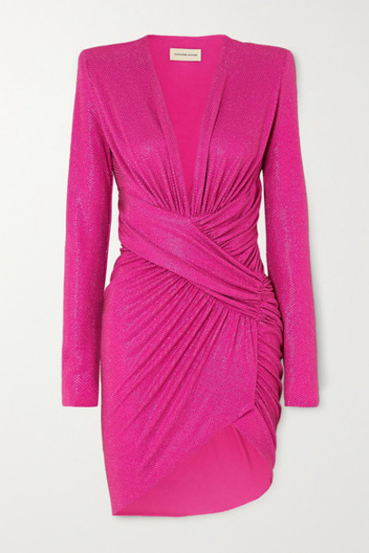 Alexandre Vauthier - Ruched Crystal-embellished Stretch-jersey Mini Dress - Fuchsia