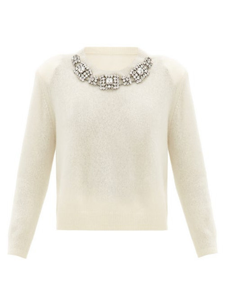 Christopher Kane - Crystal-embellished Cashmere-blend Sweater - Womens - White