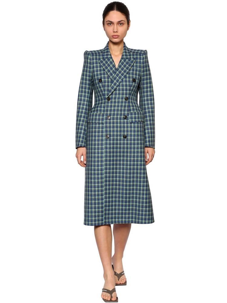 BALENCIAGA 3d Wool Tweed Coat in blue / multi