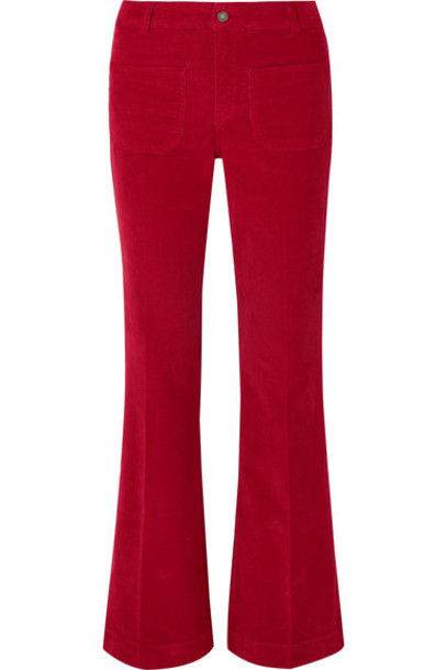 Vanessa Bruno - Dompay Stretch-cotton Corduroy Wide-leg Pants - Red