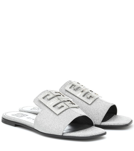 Givenchy 4G embellished glitter sandals in silver