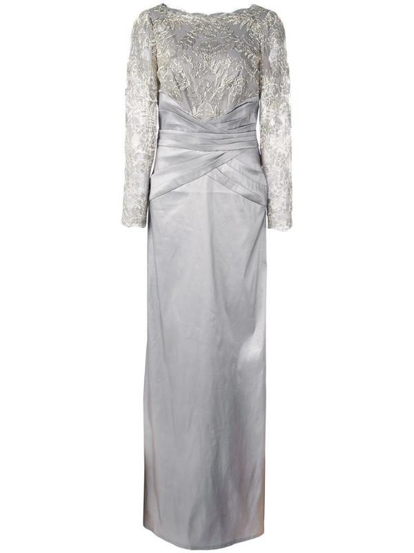 Tadashi Shoji sequinned gown in grey