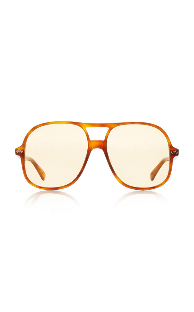 Gucci Oversized Acetate Aviator Sunglasses in yellow