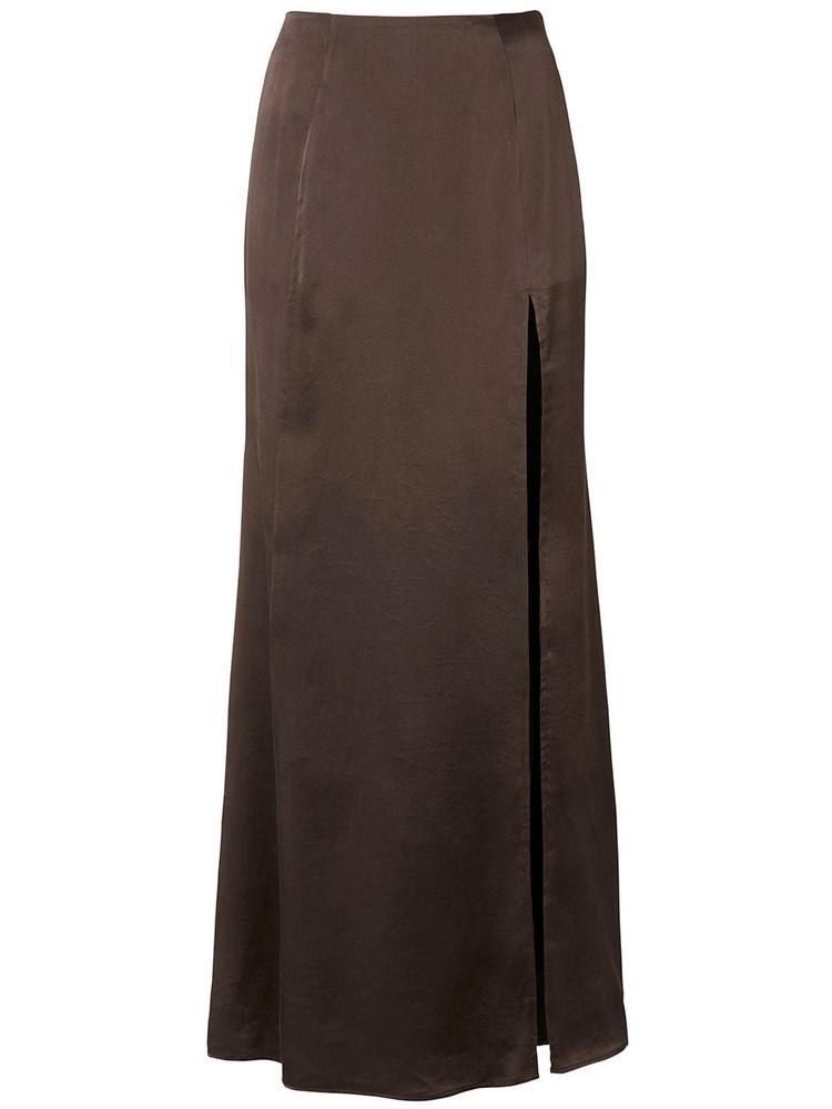 BITE STUDIO Organic Silk Long Skirt W/slit in brown