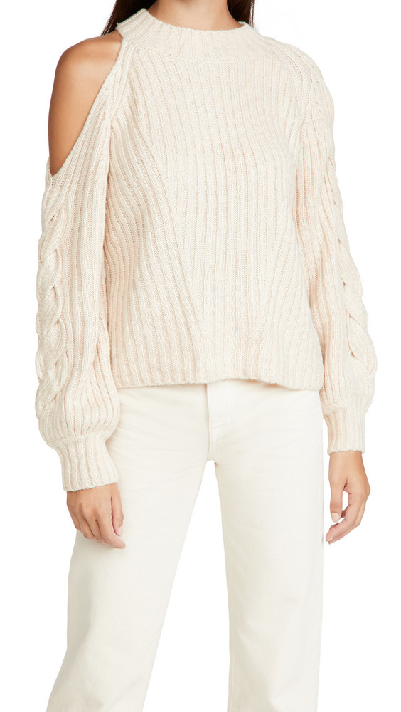 525 Braided Sleeve Cold Shoulder Pullover in cream
