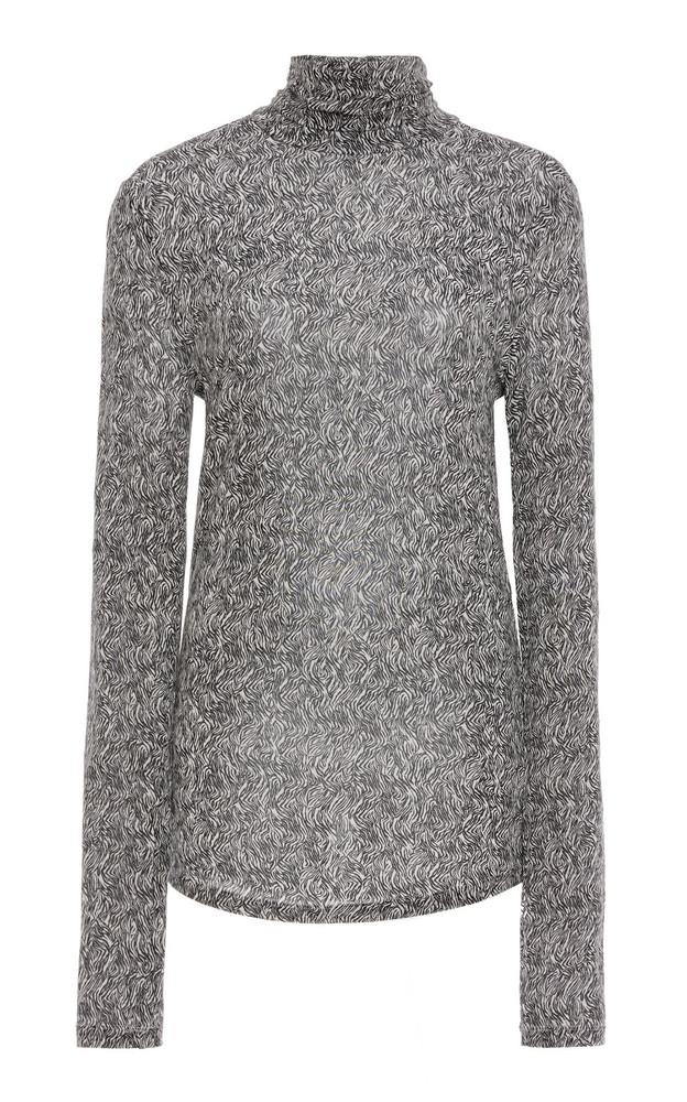 Isabel Marant Goyela Printed Stretch-Knit Turtleneck Top in black
