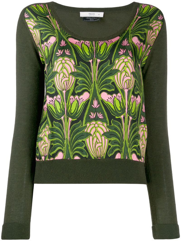 Prada Pre-Owned 1990's floral print knitted blouse in green