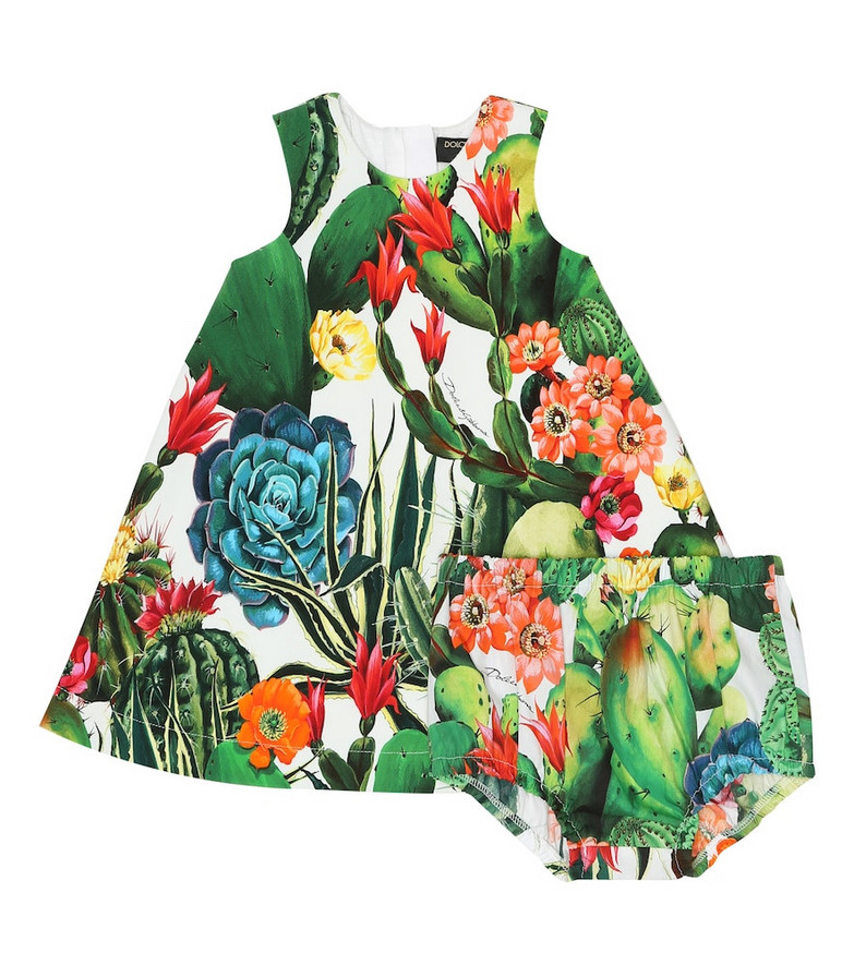 Dolce & Gabbana Kids Exclusive to Mytheresa – Baby printed dress and bloomers set in green