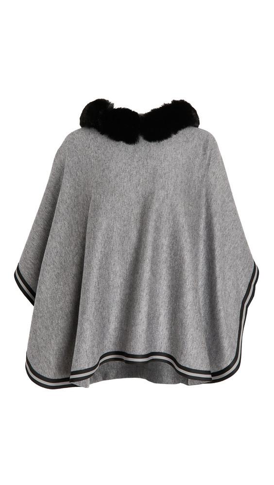 Adrienne Landau Hooded Cape in gray