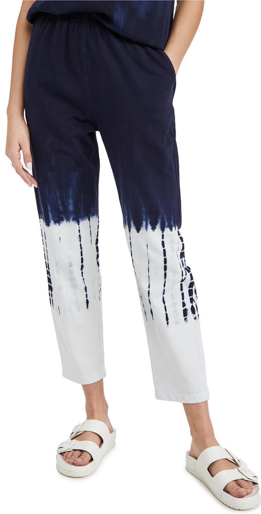 Raquel Allegra Tie Dye Ankle Pants in indigo / white